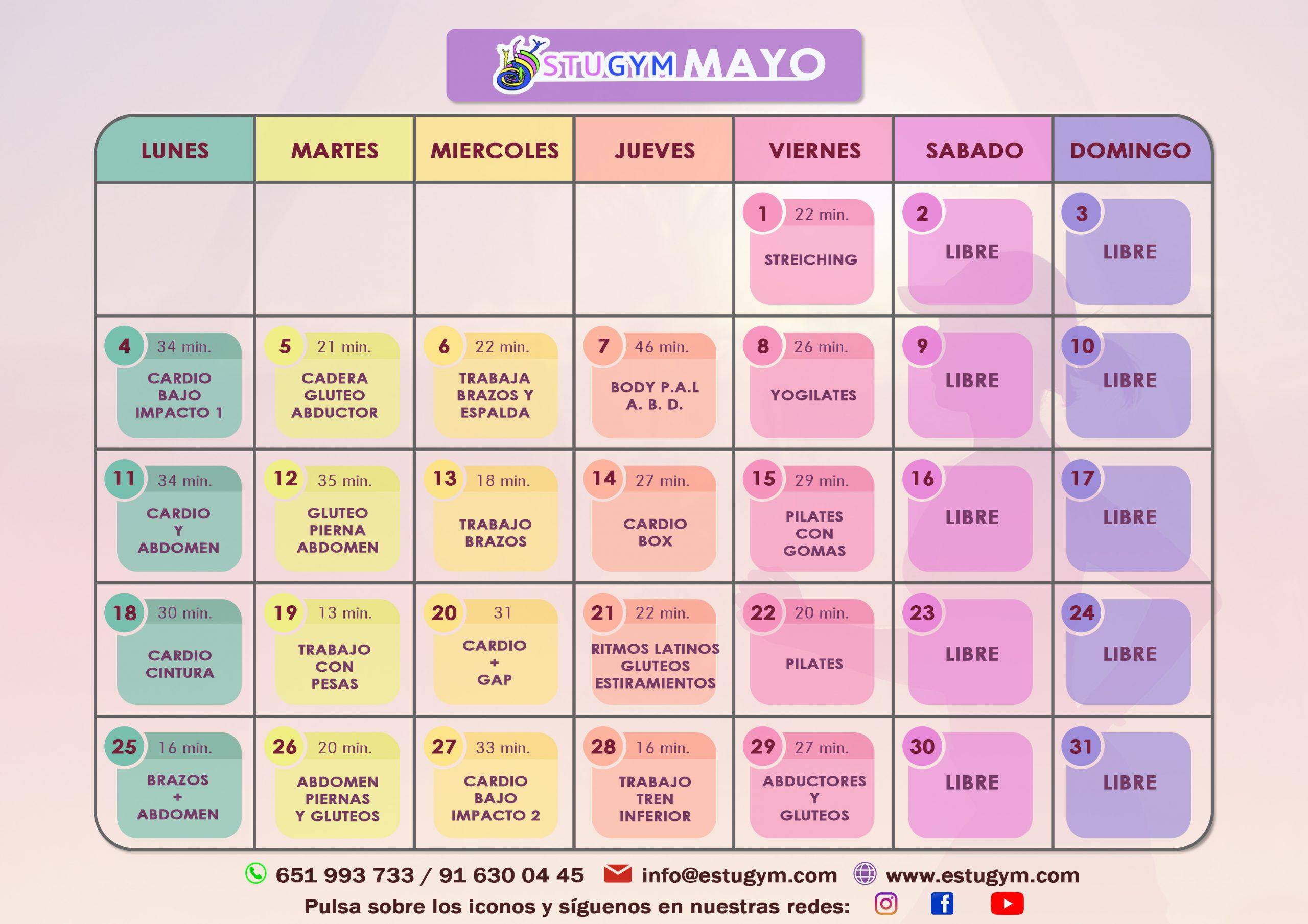 Calendario Interactivo Mayo 2020