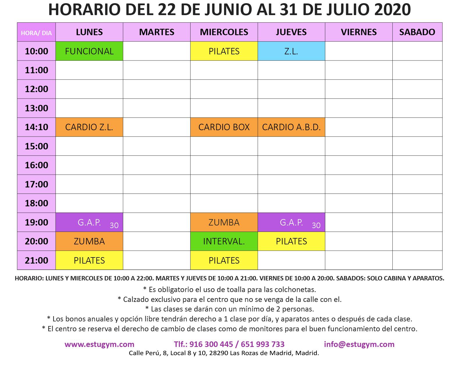 Calendario provisional Covid-19